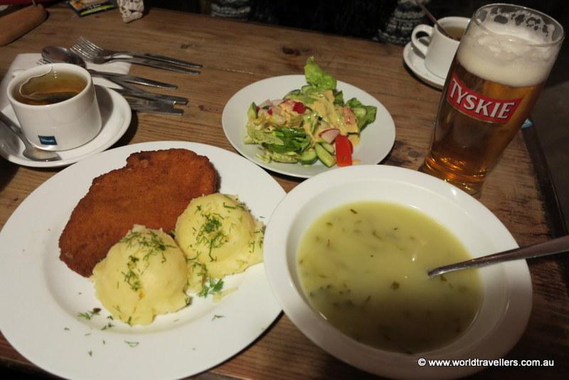 Gherkin soup, pork schnitzel with potato, salad and mushroom dumplings.